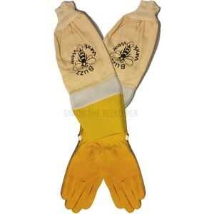 Ventilated Beekeepers Gloves Soft Leather Yellow-Choose Size