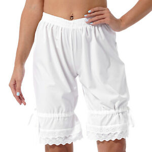 Women Vintage Casual Bloomers Shorts Elastic Waist Lace Ruffled Pumpkin Pants