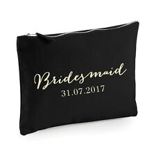 Personalised Bridesmaid Make Up Bag/Pouch - Black/Cream - Wedding Gift Favour