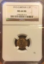 1/3 FARTHING 1913 NGC MS64RB GREAT BRITAIN 1/3F