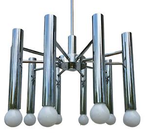 Space Age Design Chrom Decken Leuchte Leuchter Lampe 10 flammig 42cmØ 58cm hoch
