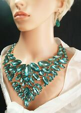 Statement Sparkling, Green Rhinestone Necklace and Earrings Set