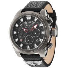 POLICE MEPHISTO Uhr Herrenuhr Lederarmband Datum schwarz grau PL14473JSQS-02