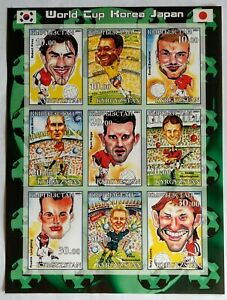 122. KYRGYZSTAN 2001 IMPERF STAMP S/S CARICATURES OF FOOTBALL PLAYERS.  MNH