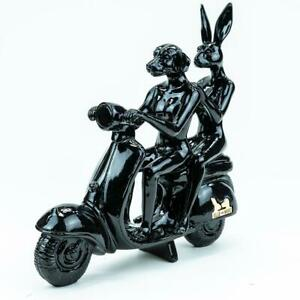 GILLIE AND MARC. Direct from the artists. Happy Mini Vespa Black Resin sculpture
