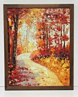Autumn Leaves Scene 16 x 20 Oil Painting on Canvas w/ Custom Made Frame