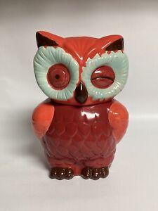 """Unusual Large 11"""" Winking Owl Cookie Jar, Red & Orange"""