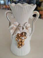 Thames Japan Hand Painted Vase vintage shabby chic decor cream gilded gold