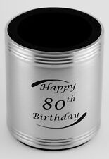 80th Birthday Stainless Steel Can Cooler - Stubby Holder - Engravable - Gift