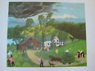 "Grandma Moses ""Thunderstorm"" Art Print  1951 20 x 14 Free Shipping"