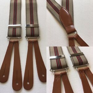 """Vintage 1940s Pattern Button Braces Leather 35mm UK Made Fawn Maroon Stripe 40"""""""