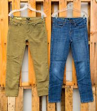 2 J Crew Stretch Toothpick Olive Army Green Blue Ankle Super Skinny Jeans Sz 27