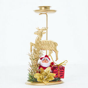 Christmas Retro Gold Iron Candlestick Candle Holder Dinning Tabletop Decor Party