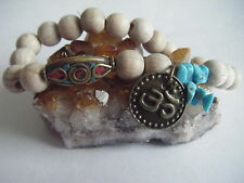 Spiritual Healing Turquoise Stacking Bracelet Om ECO Beech Wood Tibetan Bead