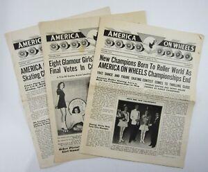 Vintage Roller Skating Championship Newspapers America on Wheels NJ Rinks 1942