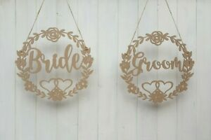 Large Wooden Bride and Groom Wedding Chair Signs MDF Decor 30cm