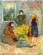"""Russischer Realist Expressionist Öl Leinwand """"Blumenverkäuferin"""" 50x40 cm"""