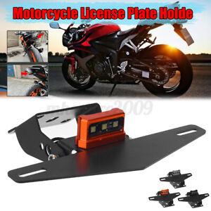 Motorcycle Rear License Plate Tail Frame Holder Bracket with LED Light for DUKE