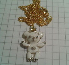 "TIBETAN GOLD PLAT+ ENAMEL WHITE TEDDY PENDANT ON 18"" GOLD PLATED NECKLACE"