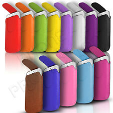 MAGNET BUTTON LEATHER PULL TAB SKIN CASE COVER POUCH FOR VARIOUS PHONES