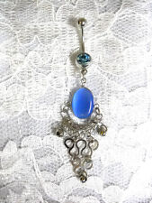 BLUE CATS EYE OVAL & SWIRLING SCROLLING BOTTOM BOLLYWOOD CZ BELLY BUTTON RING