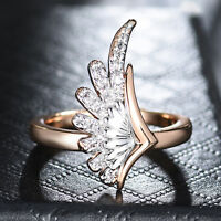 Angel Wing Silver & Gold Filled Cluster Crystal Women Lady Wedding Party Rings