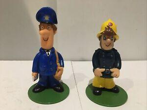 Vintage Postman Pat and Fireman Sam Figures-1990-Bandai Collectable Characters
