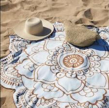 Vix Paula Hermanny Lotus Flower Beach Pool Towel Quick Dry Blue Brown 59 In