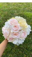 Luxury Silk Bridal Boquet Peonies Roses Hydrangea Ivory Pearl Lace Bouquet