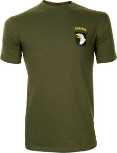 101st Airborne Small Logo T-shirt - Green US American Screaming Eagles