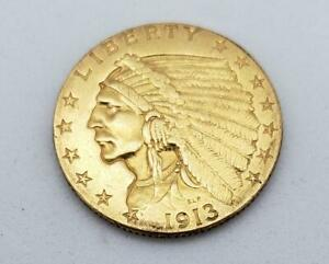 1913 US Gold $2.50 Indian Coin Quarter Eagle cleaned L9075