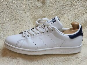 Adidas Stan Smith mens Street trainers Leather White/Navy UK 8.5 EUR 43 US 9