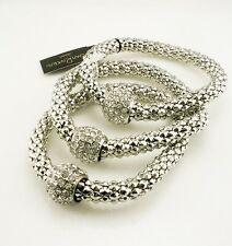 Joan Rivers Set of  3  Stretch Bracelets  SILVERTONE