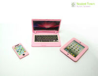 3 Doll House Miniature Iphone Laptop I PAD Study Room Furniture 1:6 Bjd Toy Pink