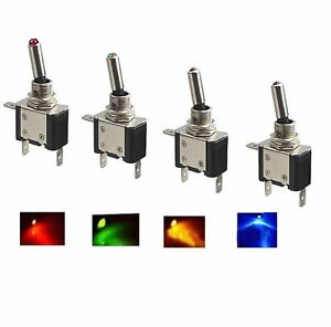 4 LED LIGHT SPST ON/OFF TOGGLE ROCKER 12V DC SWITCHES CAR AUTO BOAT ATV RGBY