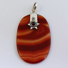 Rotstreifen Achat mit Granat, Achat Rot, Anhänger in 925 Silber,schön,Edelstein