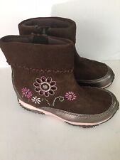 Stride Rite  Brown Boot w/Flowers Girls Short Boot Shoe Size 8.5W
