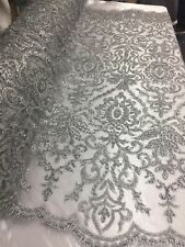 Beaded Fabric - Embroidery on Polyester Mesh Wedding Dress Silver By The Yard