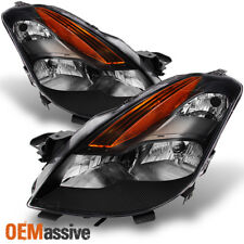 Fits 08-09 Altima 2Dr Coupe Black Bezel Halogen Type Headlights Replacement Lamp