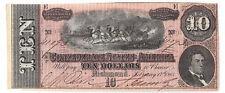 1864 Confederate States of America Ten Dollar Note Crisp T68 Pf33 Cr549A