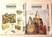 McCalls Sewing Pattern Tote Bags S M L Craft Organizers Purses LOT M5822  M6256
