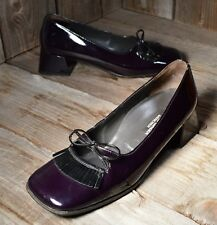 PAUL GREEN US 7 Patent Leather Block Heel Square Toe Loafer Eggplant Purple EUC