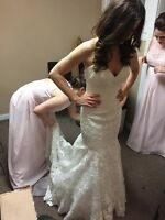 Allure Mermaid Lace Ivory Wedding Dress Size 4 Size 6 - $1400