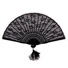 Folding Hand Fan Lace Spanish Gothic Victorian Party Favor Fancy Dress Black US
