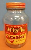 NICE VINTAGE 1 LB BUTTER NUT REGULAR GRIND COFFEE JAR ADVERTISING - OMAHA, NE