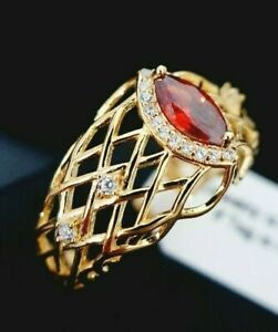 Ladies 925 Sterling Silver Gold Simulated Ruby Diamond Lattice Band Ring Size O