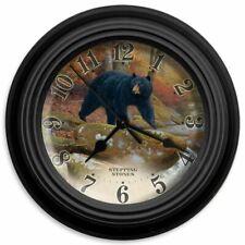 "Reflective Art Wall Clock Black Bear 10"" Hunter Wildlife Clocks Stepping Stones"