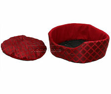 SMALL Round Soft Comfy Fabric & Foam Washable Dog Pet Cat Warm Basket Bed RED