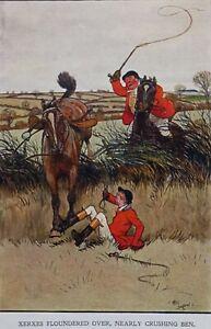 Cecil Aldin 1911 Comic Fallen Huntsman Equestrian print. Handley Cross novel.