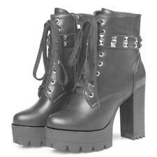 Women Ankle Motorcycle Boots Platform Plus sz Rivets High Heel Winter Shoes Punk